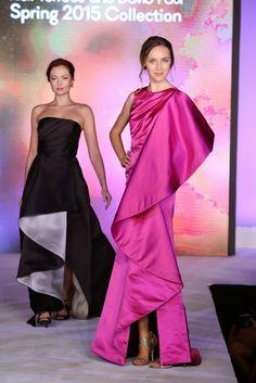 "Bubblegum pink silk duchesse gown with side ""Toreador"" cascade ruffle drape--NIKOLAKI Spring 2015 Runway Show--STYLE WEEK OC 2014"