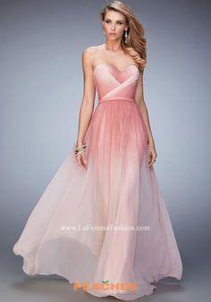 La Femme Long A Line Pink Dress 22156