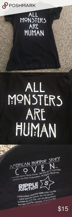 "American Horror Story black shirt American Horror Story black shirt from hot topic ""all monsters are human"" in white writing. Price is negotiable as well as everything else in my closet Hot Topic Tops Tees - Short Sleeve"