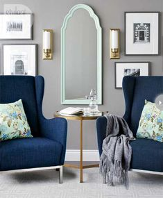 inspiration - mint green - Wink Interiors  I love the little touches of gold which really warm up the grey/mint green and navy
