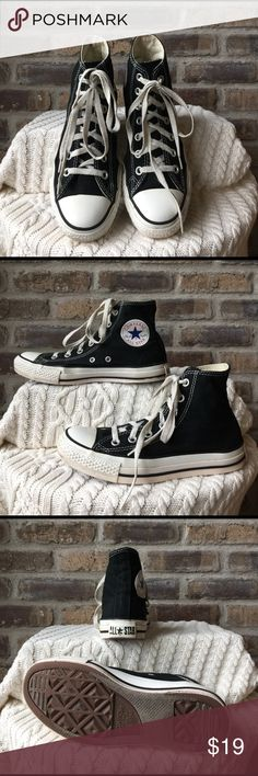 Converse All-Stars Men's size 5 women's size 7 black Chuck Taylor Converse All-Stars Hightops. They have been worn and loved notice in pictures slight separation from the canvas to the rubber and slight discoloration on the rubber Converse Shoes Sneakers