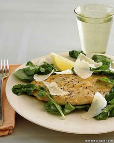 The uniform thickness of scaloppine abets quick, even cooking. To prevent the arugula from wilting, let the chicken cool slightly before serving.