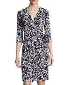 TASCB Diane von Furstenberg New Julian Two Halo-Petal Wrap Dress, Black/White