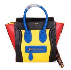 Celine Luggage Nano Bag Ferrari Leather CL3308S Yellow&Black&Red - $259.00