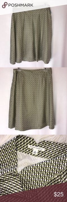 "Banana Republic Green Brown Basketweave Silk Skirt Pretty A-line silk skirt from Banana Republic.    Wide front pleats. Side zipper.  Excellent used condition.  No stains, holes or tears. Waist across laying flat 15"", length 23"". Banana Republic Skirts A-Line or Full"
