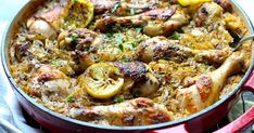 One Pot Roasted Greek Chicken and Rice - Girl and the Kitchen Chicken And Rice Dishes, Chicken Recipes, Greek Dishes, Main Dishes, Best Crockpot Recipes, Cooking Recipes, Greek Rice, Greek Menu, Greek Chicken