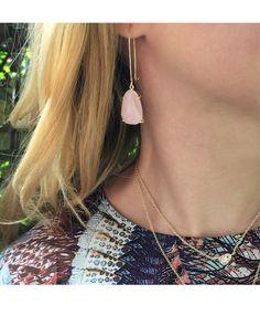 Nancy Delicate Earrings in Rose Quartz - Kendra Scott Jewelry. Coming January 21!