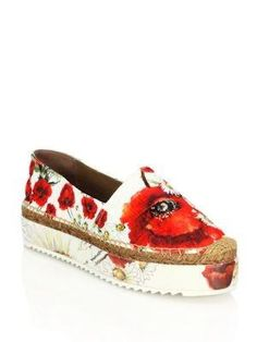 Poppy-Print Platform Espadrille Flats from Saks Fifth Avenue at SHOP.COM