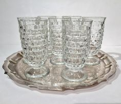 Colony Whitehall Footed Iced Tea Glasses, Set of 7 Cubist Clear Glass Tumblers, Crystal Whitehall Stemmed Glasses, Colony Whitehall Glasses by MotownLostandFound on Etsy