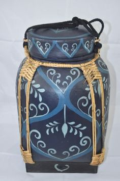 Handmade Bamboo Rice Containers Dark-Blue, Lt-Blue, Blue by Kekos Bamboo Containers, Bamboo Rice, Rice Box, Thai Rice, Asian Decor, Making Out, Pots, Dark Blue, Baskets