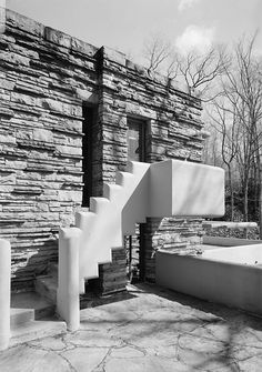 Frank Lloyd Wright. Fallingwater - Stairs for dressing room to terrace