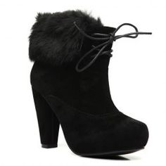 $16.31 Fashion Style Women's Ankle Boots With Faux Fur and Chunky Heel Design