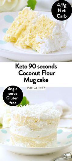 Coconut flour mug cake - keto single birthday cake - Sweetashoney Desserts Coconut flour mug cake - keto single birthday cake - Sweetashoney Low Carb Sweets, Low Carb Desserts, Low Carb Recipes, Recipes With Coconut Flour Low Carb, Desserts With Coconut Flour, Coconut Recipes Healthy, Cooking With Coconut Flour, Healthy Food, Keto Cookies