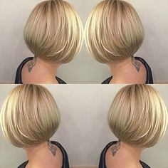 100 Mind-Blowing Short Hairstyles for Fine Hair Sleek Stacked Golden Bob Bobs For Thin Hair, Short Thin Hair, Short Hairstyles For Thick Hair, Short Bob Haircuts, Short Hair Cuts, Curly Hair Styles, Medium Hairstyles, Braided Hairstyles, Layered Haircuts