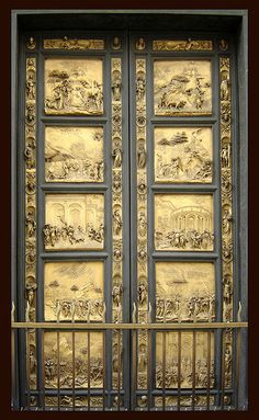 """The bronze doors known as """"The Gates of Paradise"""" and also simply """"Ghiberti's Doors"""""""