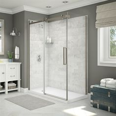 Maax Shower Stalls & Enclosure Utile Corner Shower in Carrara Marble with Center Drain Base and Door Bathroom Style, Marble Bathroom, Corner Shower, Marble Showers, Carrara Marble Bathroom, White Marble Bathrooms, Shower Stall Enclosures, Bathroom Renovations, Bathroom Decor