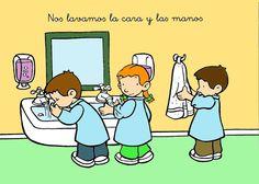 Nis lavamos la cara y manos