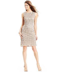 c75ba718bdc Alex Evenings Sequin Lace Tiered Sheath Women - Dresses - Macy s