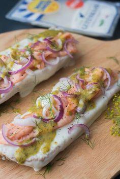 Broodje geitenkaas met zalm