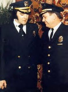 """Denver Police Captain Jerry Kennedy, """"Captain"""" Elvis Presley and Police Chief Art Dill Jan. 28, 1976"""