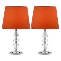 Safavieh Crescendo Tiered Crystal Lamp - Orange (Set Of 2)