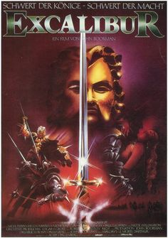 Excalibur , starring Nigel Terry, Helen Mirren, Nicholas Clay, Cherie Lunghi. Merlin the magician helps Arthur Pendragon unite the Britons around the round table of Camelot even as forces conspire to tear it apart #Adventure #Drama #Fantasy