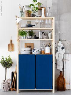 Small Ikea Ivar storage unit with deep blue cabinet. Ikea Ivar Shelves, Ikea Ivar Cabinet, Ikea Storage, Ikea Inspiration, Kitchen Shelving Units, Kitchen Storage, Interior Exterior, Kitchen Interior, Kitchens