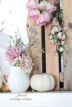 French Country Cottage - natural autumn mantel