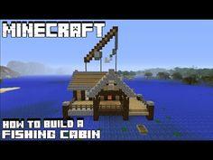 Minecraft Tutorial: How To Make A Fishing Hut Lego Minecraft, Minecraft Wooden House, Minecraft Shops, Minecraft Statues, Minecraft Redstone, Minecraft House Designs, Minecraft Survival, Minecraft Construction, Minecraft Bedroom