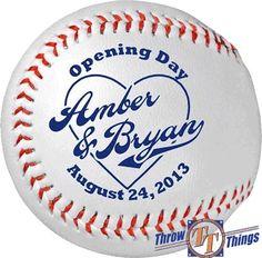Throw & Tell: Baseball Wedding Favors & Gifts sports save the dates, baseball save the dates #wedding #sports