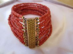 Antique 10 Strand Georgian Carved Coral Bracelet with Gold Clasp