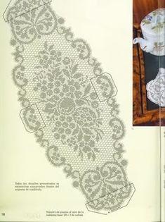 Kira crochet: Crocheted scheme no. Filet Crochet Charts, Crochet Doily Patterns, Thread Crochet, Crochet Designs, Crochet Doilies, Crochet Table Runner, Crochet Tablecloth, Oval Tablecloth, Fillet Crochet