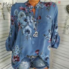 1ae0175279a Floral Print Women Blouse Summer Top Plus Size Long Sleeve Shirt Harajuku  Printed Blusa Feminina Womens