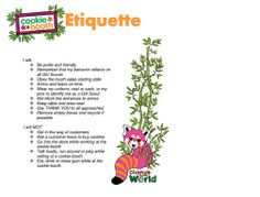 Girl Scout Cookie Booth Etiquette Guidelines  print and keep at booth or have the girls sign in a meeting.