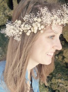 Lydia pearl and baby's breath crown shabby by ButtonsnBlossoms, $68.00