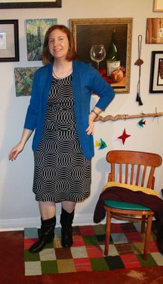 Black and white patterned dress with blue cardigan. And short boots. (I didn't feel like taking stockings or tights on and off, so imagine them on my pale legs.)