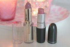 my 2 all time favorite lipsticks, L'oreal caresse Tempting lilac and Mac Angel <3
