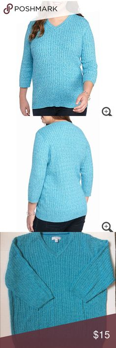 Blue Women's Sweater (NWOT) Kim Rogers Brand Blue Women's Sweater. In a size 2X. Is brand new (NWOT) and has never been worn. Is made out of 100% cotton. (Wallet, earrings, and necklace not included) and (stock photos used above in photos one & two ⬆️). Price is negotiable so make me an offer!👍🏻 Thank You.🤠 ❌No Trades❌ Kim Rogers Sweaters V-Necks