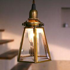 真鍮・ガラスのアンティーク照明