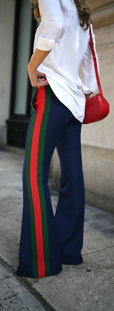 Trend Memo Day 2: Luxe Leisure //  Multi-colored striped flare pants, white button down, small red handbag, black sandals, white sunglasses {Gucci, Steve Madden, Elizabeth and James, trend memo, fashion week}
