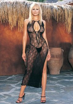 2 Piece keyhole high slit swirl lace long gown and matching g-string.