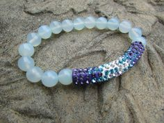 Chalcedony Gemstone Czech Crystal Bracelet Natural Blue 6mm Chalcedony Gemstones Pave Czech Crystal Tube Bead Orchid Turquoise Clear Stones by Glitteredtoo on Etsy
