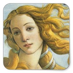 Botticelli Birth of Venus (detail) Square Stickers