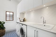 Classic laundry renovation - Lavare Perth Hamptons House, The Hamptons, Boutique Bathroom, Bathroom Showrooms, Inspired Homes, Perth, Laundry Room, Home Appliances, Classic