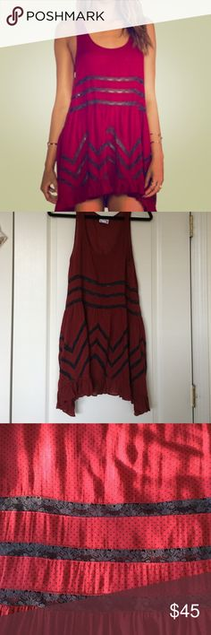 Dark Red and Black FP Voile & Lace Slip, XS! Dark red and black (more like a charcoal) Voile and Lace Trapeze Slip by Free People! Only worn twice, in excellent condition!! This is a timeless Free People piece, perfect colors for fall! Free People Dresses