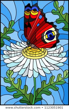 Illustration in stained glass style with a white chamomile flower and bright butterfly on a blue background Glass Painting Designs, Paint Designs, Drawing For Kids, Painting For Kids, Geometric Cat, Decoy Carving, Framed Burlap, Eye Drawing Tutorials, Punch Needle Patterns