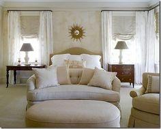Classic neutral bedroom design by James Michael Howard Home Design, Interior Design, Design Ideas, Clean Design, Design Design, Side Tables Bedroom, Bedside Tables, Fluffy Bedding, Transitional Bedroom