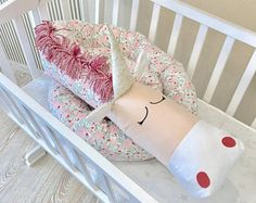 Baby crib bumper FLORAL UNICORN Pillow Handmade, Baby Bed Bumper, Baby Shower Present