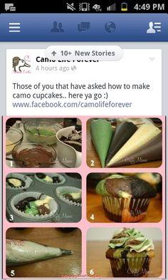 Camo cupcakes @Natalie Jost Sutherland