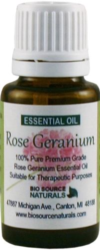 Rose Geranium Essential Oil - 0.5 fl oz / 15 ml, $15.05.  Geranium is great for physical issues and emotional issues. It has a very uplifting, calming, and floral scent, and it helps to regulate PMS and menopausal symptoms. It's great for sluggishness and congestion and for oily skin.